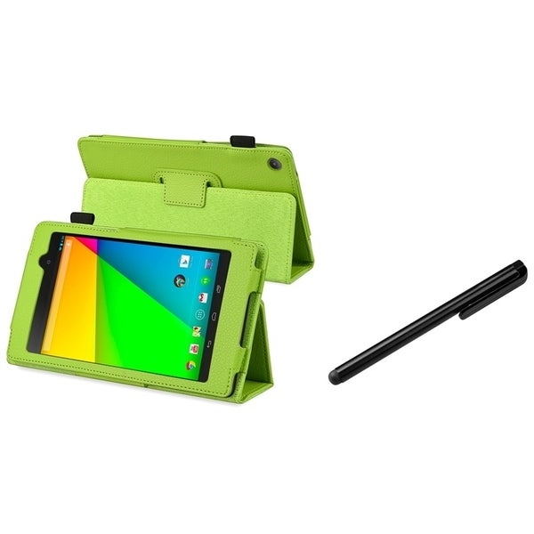 BasAcc Green Leather Case/ Black Stylus for Google New Nexus 7