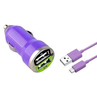 Insten 3-foot Purple Charging Data Transfer Micro USB M/ M Cable Cord/ Dual USB Mini Car Charger Adapter for HTC One M9