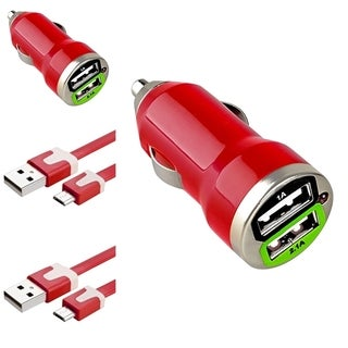 Insten 3-foot Red Micro USB Cable Cord/ Dual USB Mini Car Charger Adapter for HTC One M9/ Samsung Galaxy S6/ Edge (Pack of 2)