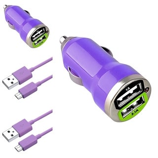 Insten 3-foot Purple Micro USB Cable Cord/ Dual USB Mini Car Charger Adapter for Samsung Galaxy S6/ Edge (Pack of 2)