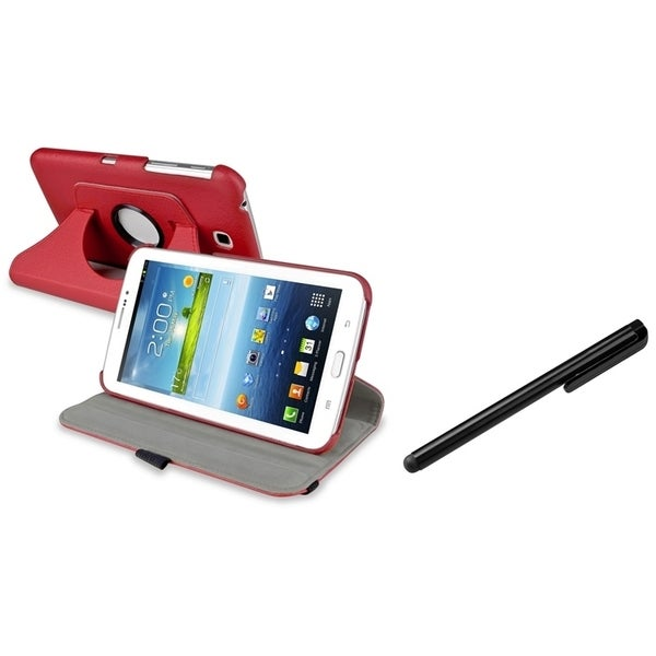 INSTEN Red Swivel Tablet Case Cover/ Stylus for Samsung Galaxy Tab 3 7.0 P3200
