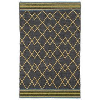 Flatweave TriBeCa Ziggy Charcoal Wool Rug (8' x 10')