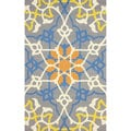 nuLOOM Hand-hooked Modern Scroll Grey Rug (5' x 8')