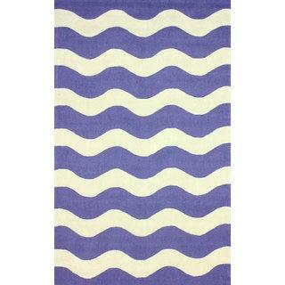 nuLOOM Hand-hooked Indoor/ Outdoor Ocean Waves Blue Rug (5' x 8')