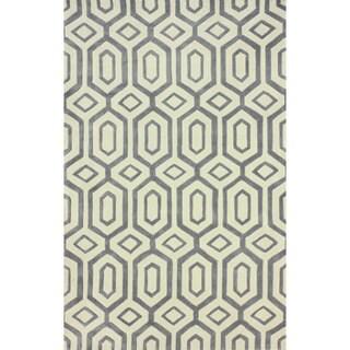 nuLOOM Handmade Modern Diamond Trellis Slate Rug (7'6 x 9'6)