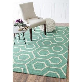 nuLOOM Handmade Modern Indoor/ Outdoor Trellis Teal Rug (9' x 12')