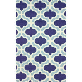 nuLOOM Handamde Lattice Navy Wool Rug (7'6 x 9'6)