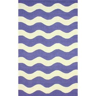 nuLOOM Hand-hooked Indoor/ Outdoor Ocean Waves Blue Rug (7'6 x 9'6)