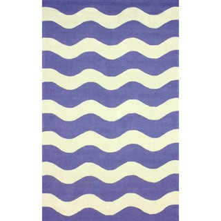 nuLOOM Hand-hooked Indoor/ Outdoor Ocean Waves Blue Rug (8'6 x 11'6)