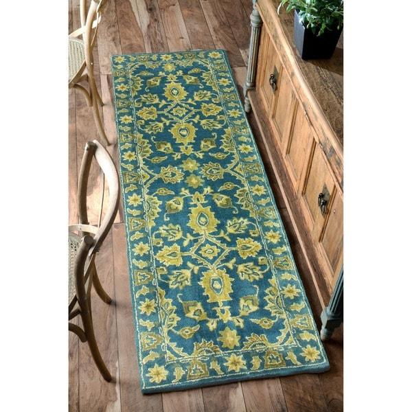 Nuloom Handmade Overdyed Floral Wool Runner Rug 2 6 X 8