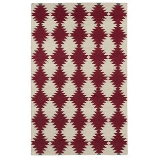 Flatweave TriBeCa Red Wordly Wool Rug (8' x 10')