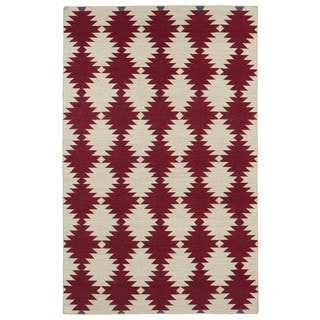Flatweave TriBeCa Red Wordly Wool Rug (9' x 12')