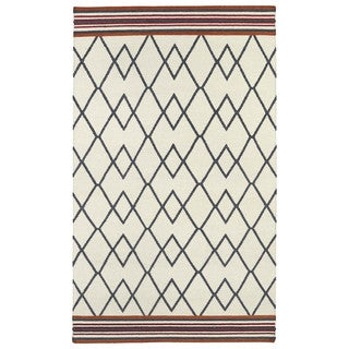 Flatweave TriBeCa Ziggy Grey Wool Rug (3'6 x 5'6)