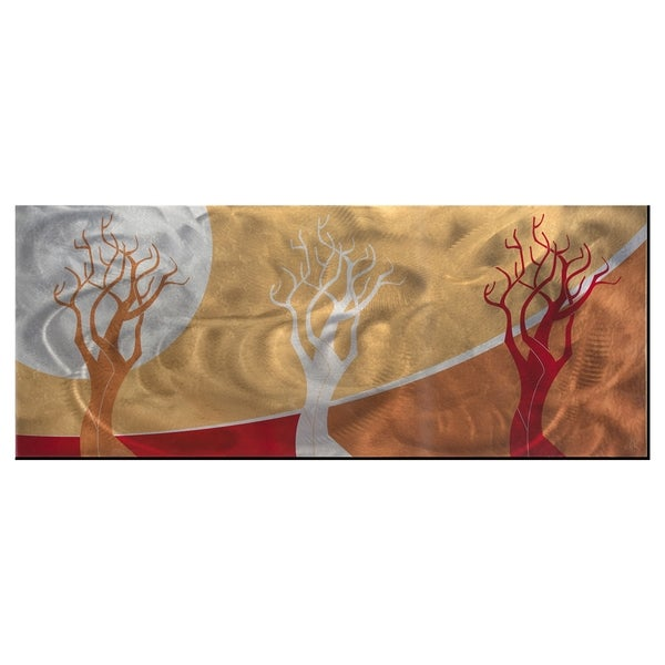Abstract Warm Landscape 'Golden Seasons' Contemporary Tree Theme Modern Metal Wall Art 11916624