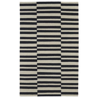 Flatweave Black Stripes Wool Rug (9' x 12')