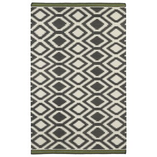 Flatweave TriBeCa Grey Geo Wool Rug (9' x 12')