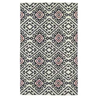 Flatweave TriBeCa Black Motif Wool Rug (9' x 12')