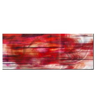 Abstract Red Artwork 'Tropical Sunset' Red, Pink, Silver & Black Modern Metal Wall Art
