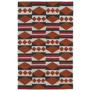 Flatweave Orange Wool Rug (9' x 12')