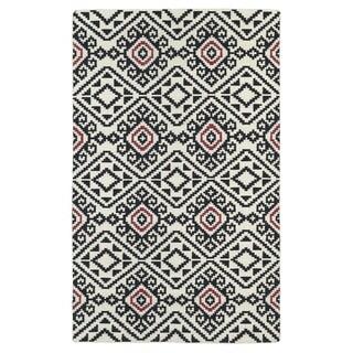 Flatweave TriBeCa Black Motif Wool Rug (8' x 10')
