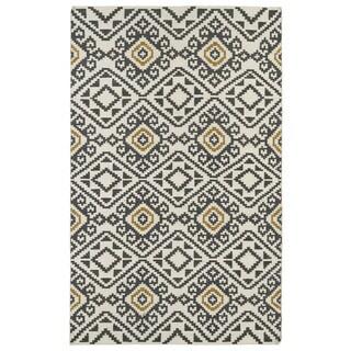 Flatweave TriBeCa Grey Motif Wool Rug (3'6 x 5'6)