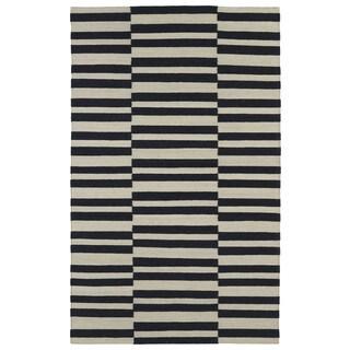 Flatweave TriBeCa Black Stripes Wool Rug (2' x 3')