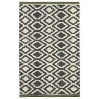Flatweave TriBeCa Grey Geo Wool Rug (3'6 x 5'6)