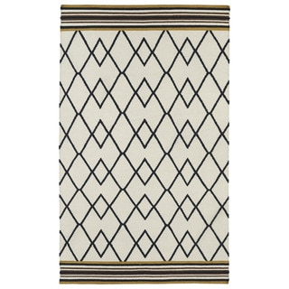 Flatweave TriBeCa Ziggy Black Wool Rug (8' x 10')