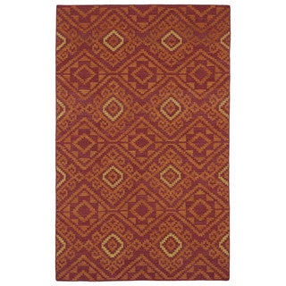 Flatweave Red Motif Wool Rug (9' x 12')