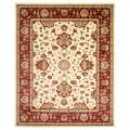 Traditional Oriental Keshan Ivory Red Area Rug (7'10 x 9'10)