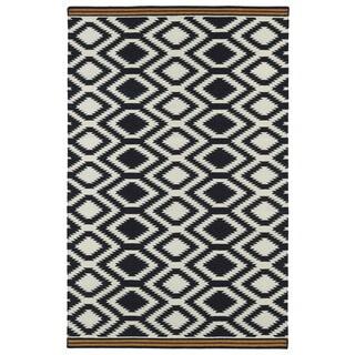 Flatweave TriBeCa Black Geo Wool Rug (3'6 x 5'6)