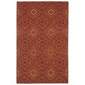 Flatweave Red Motif Wool Rug (5' x 8')