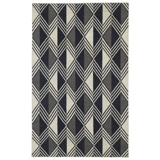 Flatweave Black Diamonds Wool Rug (3'6 x 5'6)