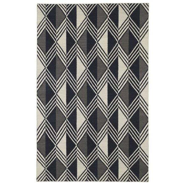 Flatweave TriBeCa Black Diamonds Wool Rug (9' x 12')