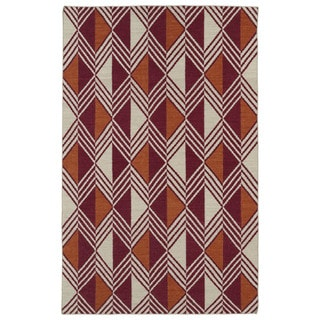 Flatweave TriBeCa Red Diamonds Wool Rug (8' x 10')