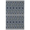 Geometric Wool Flatweave Blue Rug