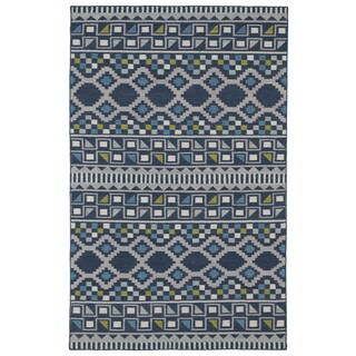 Flatweave TriBeCa Blue Wool Rug (9' x 12')
