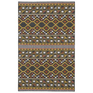 Flatweave TriBeCa Charcoal Wool Rug (9' x 12')
