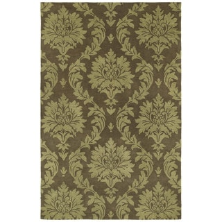 Swanky Chocolate Brown Damask Wool Rug (9'6 x 13')