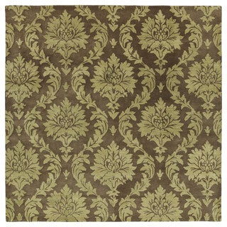 Swanky Chocolate Brown Damask Wool Rug (7'9 Square)