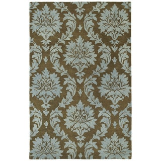 Swanky Blue Damask Wool Rug (9'6 x 13')