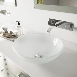 VIGO White Frost Vessel Sink and Chrome Wall Mount Faucet Set