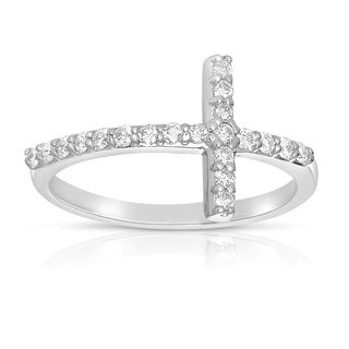 14k White Gold 1/3 TWD Sideways Diamond Cross Ring