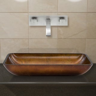 VIGO Rectangular Russet Glass Vessel Sink/ Brushed Nickel Wall Mount Faucet Set