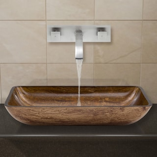 VIGO Rectangular Amber Sunset Glass Vessel Sink and Wall Mount Faucet Set in Brushed Nickel