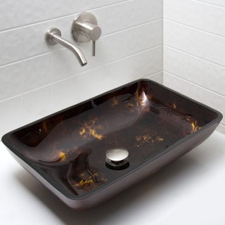 VIGO Rectangular Brown and Gold Fusion Glass Vessel Sink and Wall Mount Faucet Set in Brushed Nickel