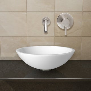VIGO Flat Edged White Phoenix Stone Glass Vessel Sink with Brushed Nickel Wall Mount Faucet
