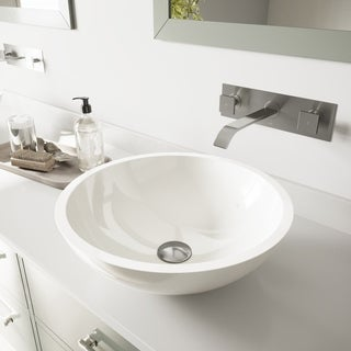 VIGO Flat Edged White Phoenix Stone Glass Vessel Sink/ Brushed Nickel Wall Mount Faucet Set