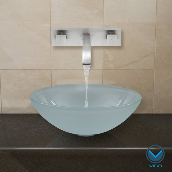 ... Phoenix Stone Glass Vessel Sink with Brushed Nickel Wall Mount Faucet