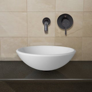 VIGO White Phoenix Stone Glass Vessel Sink with Antique Rubbed Bronze Wall Mount Faucet